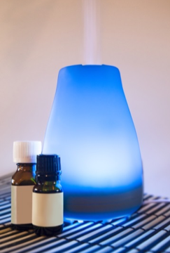 Guided meditation works well with an aromatherapy diffuser
